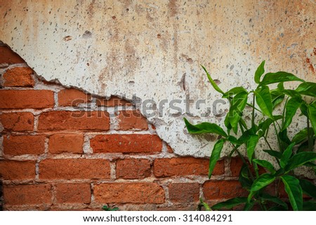 grunge background, red brick wall texture bright plaster wall abandoned exterior urban background for your concept or project - stock photo