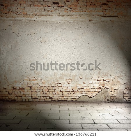grunge background, red brick wall texture floor and spot light - stock photo