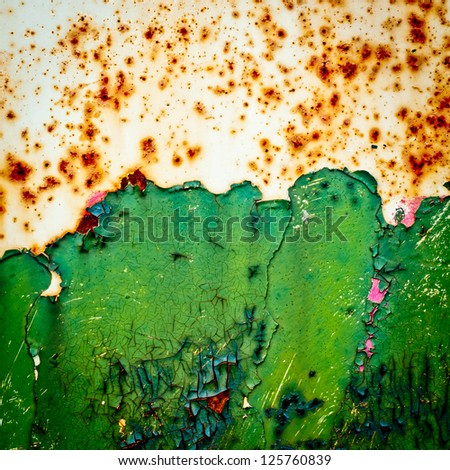 grunge background. rusty metal texture with cracked peeling paint. - stock photo