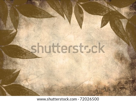 Grunge background texture with leaf pattern.