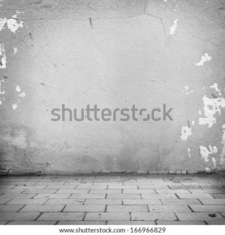 grunge background, white wall texture and blocks road sidewalk abandoned exterior urban background for your concept or project - stock photo