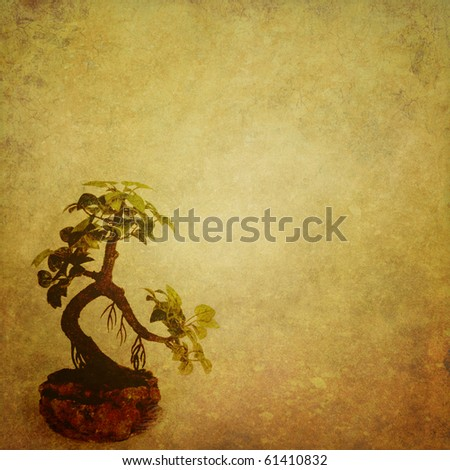 grunge background with a bonsai with a place for text or image - stock photo
