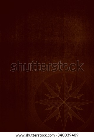 Grunge background with a wind rose in a draft style. Brown pattern. - stock photo