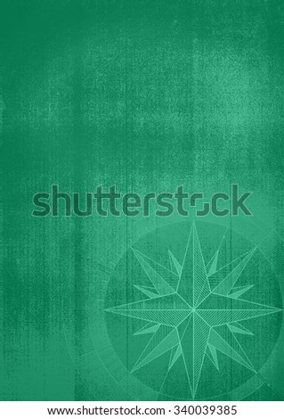 Grunge background with a wind rose in a draft style. Green pattern. - stock photo