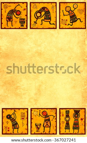 Grunge background with African ethnic patterns and paper texture of yellow color - stock photo