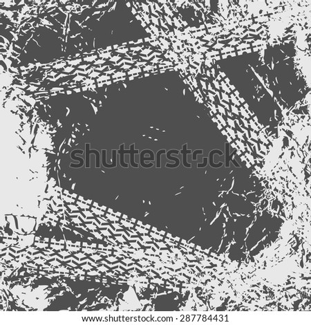 Grunge background with black tire track  - stock photo