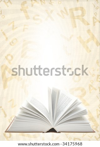 Grunge background with book and alphabet