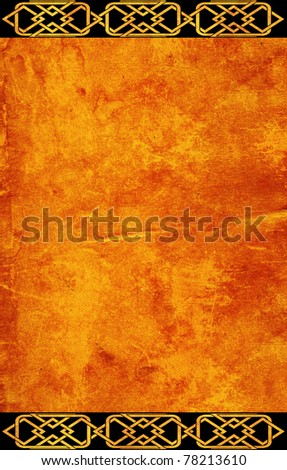Grunge background with celtic traditional patterns - stock photo