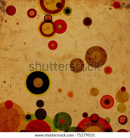 Grunge background with colored circles and some stains