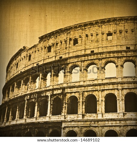 Grunge background with Colosseum in Rome. Aged version - stock photo