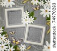grunge  background with decorative frames and flowers - stock photo