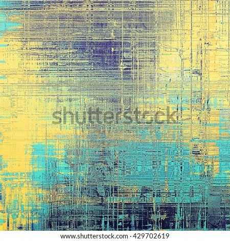 Grunge background with delicate aged texture. Antique backdrop with retro vintage elements and different color patterns: yellow (beige); blue; gray; cyan - stock photo