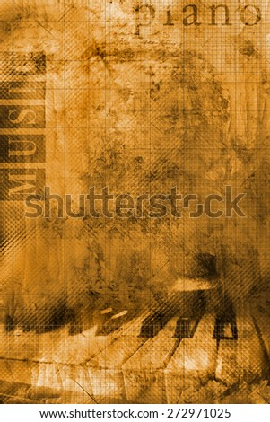 Grunge background with detail of piano keyboard and words - stock photo