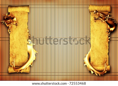 Grunge background with dragons and scrolls of old parchments - stock photo