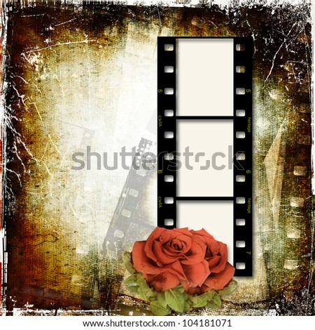 Grunge background with film frame and roses - stock photo