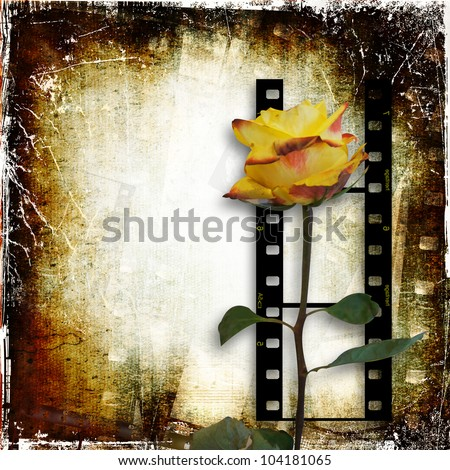 Grunge background with film-strip and rose - stock photo