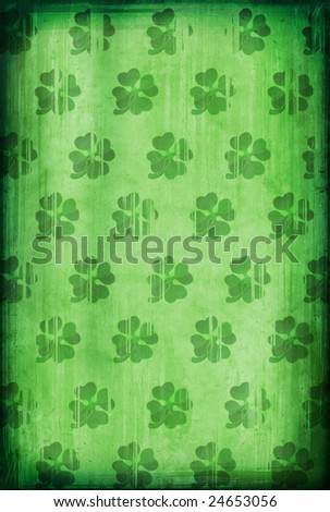 Grunge background with four-leafed clover for St. Patricks Day - stock photo