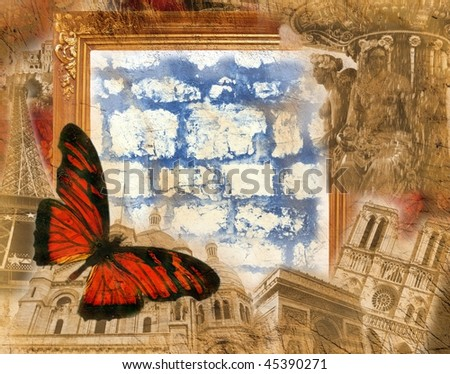 Grunge background with golden frame and colored  butterfly - stock photo