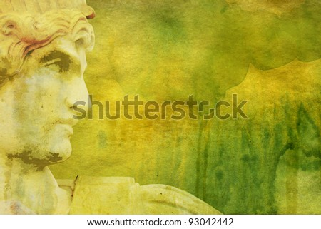 Grunge background with Greek style statue - stock photo