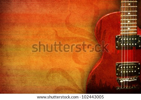 grunge background with guitar