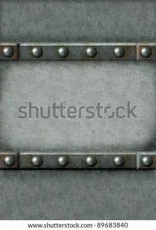 Grunge background with metal frame and rivets - stock photo