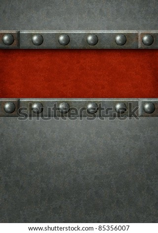 Grunge background with metal plates and rivets