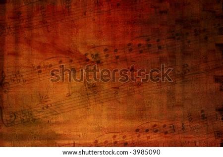 Grunge background with music - stock photo