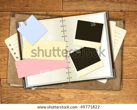 Grunge background with notebook and photos