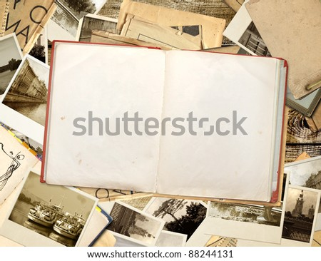 Grunge background with old book and photos