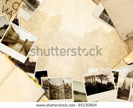 Grunge background with old book and photos - stock photo