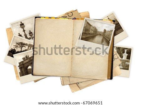 Grunge background with old notebook and photos - stock photo