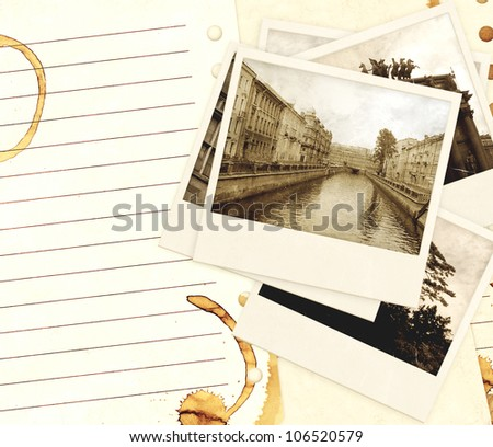 Grunge background with old notebook pages and photos - stock photo