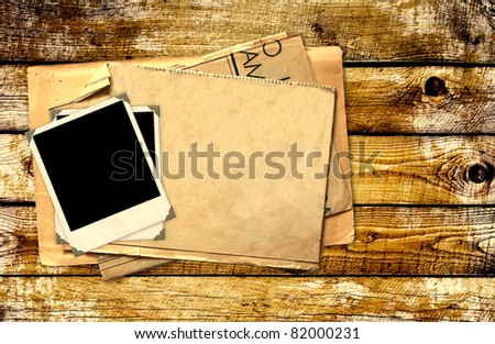 Grunge background with old photos - stock photo