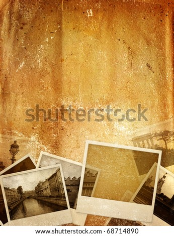 Grunge background with old photos and paper texture - stock photo