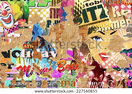 Grunge Background with Old Posters and Flaking Plaster. - An illustration with some photographic elements. - stock photo