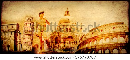 Grunge background with paper texture and landmarks of Italy - volcano Mount Vesuvius, Leaning Tower of Pisa, Colosseum, Michelangelo's David