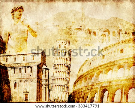 Grunge background with paper texture and landmarks of Italy - volcano Mount Vesuvius, Leaning Tower of Pisa, Colosseum, Michelangelo's David - stock photo