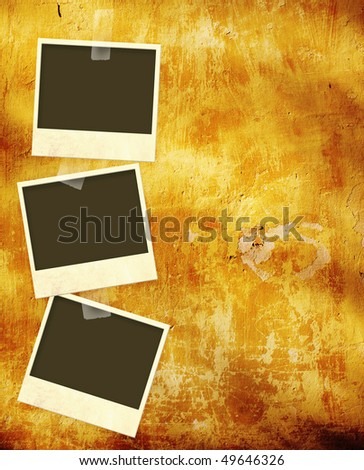 Grunge background with photoframes