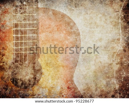 Grunge background with red guitar
