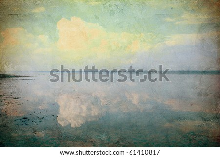 grunge background with sea view - stock photo