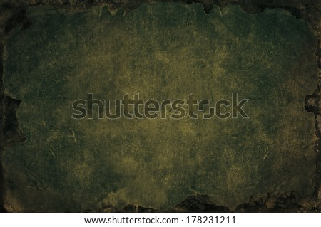 Grunge background with shabby, tattered, bleached fabric texture with rusty iron frame - stock photo
