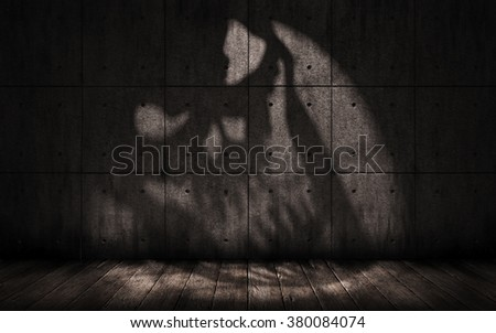 Grunge Background With Shadow In The Shape Of A Skull Scary Dark Underground Room