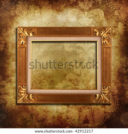 grunge background with space for text or image and wooden frame