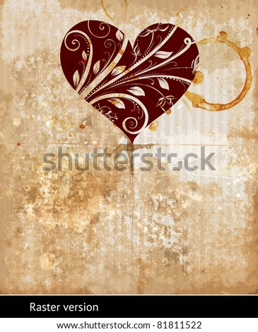 Grunge background with space for text or image. With heart for invitation design. Raster version. - stock photo