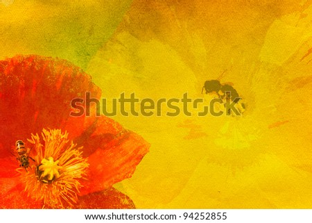 Grunge background with spring flowers and bees - stock photo