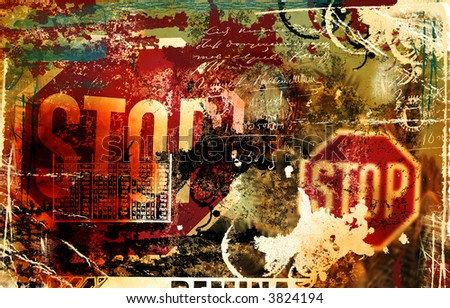 Grunge background with stop sign - stock photo