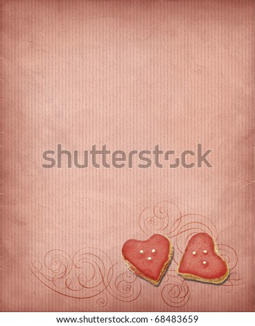 Grunge background with sweet hearts in pink tones - stock photo