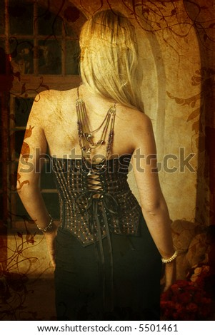 Grunge background with swirls and scrolls and blond woman in tight black corset, necklace, standing with her back - stock photo