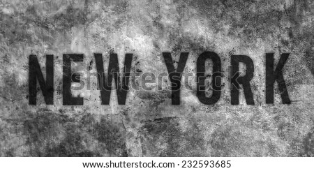Grunge background with text - New York - stock photo