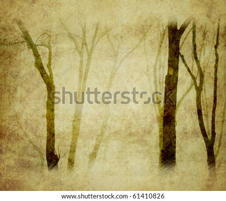 grunge background with trees - stock photo